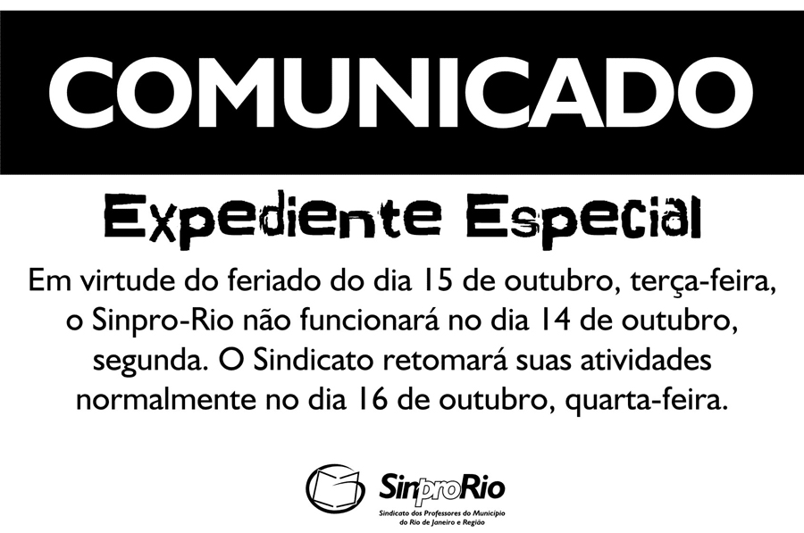 Expediente especial: dia do/a Professor/a